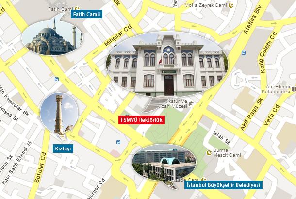 FSMVÜ Fatih Rektörlük Harita